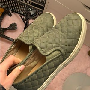 Slide on quilted shoes in army green